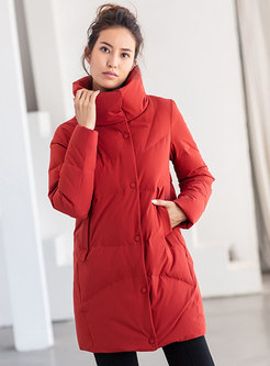 Solid Straight Mid-length Puffer Coat