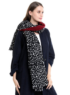 Color-blocked Polka Dot Faux Cashmere Scarf