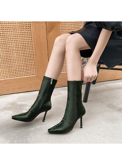 Pointed Toe High Heel Short Boots