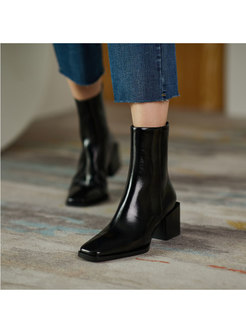 Patent Leather Chunky Heel Short Boots