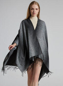 Gradient Color Fringed Shawl Scarf
