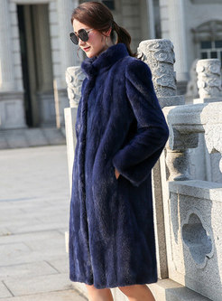 Lapel Straight Knee-length Faux Fur Coat