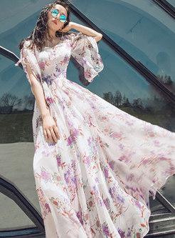 Print Chiffon Big Hem Maxi Dress