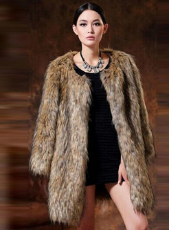 Crew Neck Mid-length Faux Fur Coat