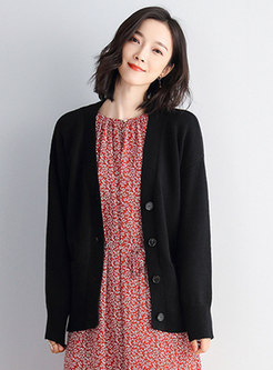 V-neck Long Sleeve Solid Cardigan With Pockets