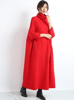 Plus Size Turtleneck Shift Long Knitted Dress