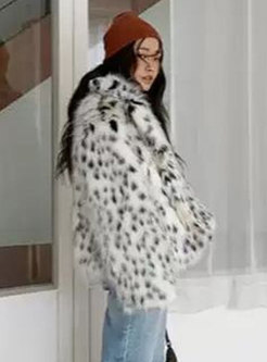 Lapel Leopard Straight Faux Fur Coat