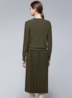 V-neck Ribbed Knitted Pleated Skirt Suits