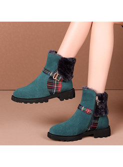 Rounded Toe Plaid Patchwork Ankle Boots
