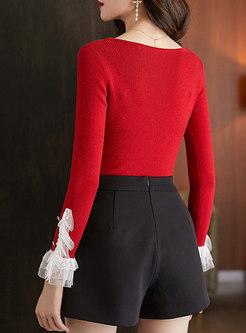 Lace Mesh Patchwork Slim V-neck Sweater