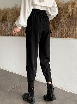 Black High Waisted Casual Harem Pants