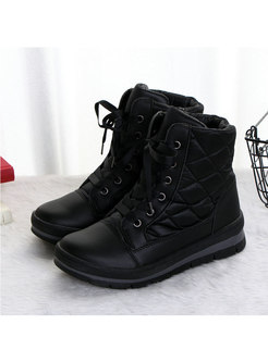 Rounded Toe Diamond Short Plush Boots