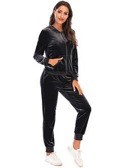 Hooded Solid Casual Velvet High Waisted Pant Suits