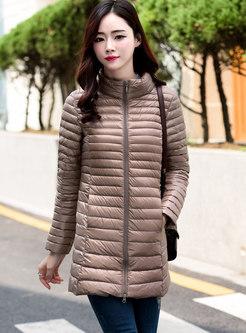 Mock Neck Mid-length Lightweight Puffer Coat