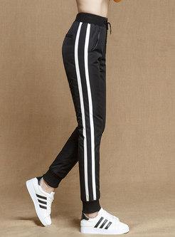 Elastic Waist Drawstring Striped Down Pants
