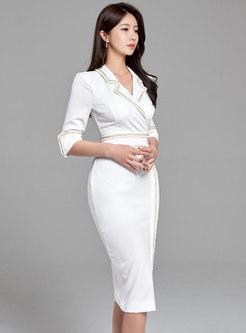 Notched 3/4 Sleeve Split Bodycon Dress
