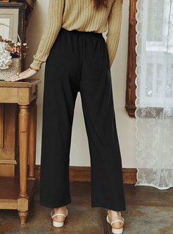 High Waisted Drawstring Ribbed Wide Leg Pants