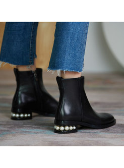 Rounded Toe Pearl Chunky Heel Short Boots