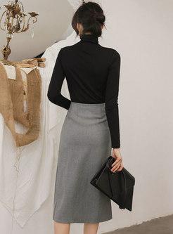 Turtleneck Sheath High Waisted Split Skirt Suits