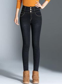 High Waisted Denim Pencil Down Pants