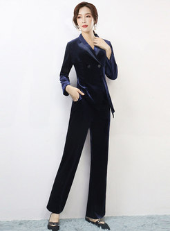 Lapel Velvet High Waisted Pant Suits