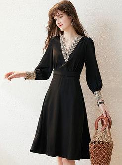Lace Openwork V-neck A Line Knee-length Dress