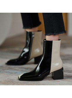 Square Neck Color-blocked Chunky Heel Boots