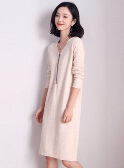 V-neck Knee-length Loose Sweater Dress