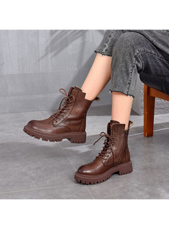 Retro Rounded Toe Martin Ankle Boots