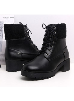 Rounded Toe Lambswool Patchwork Ankle Boots