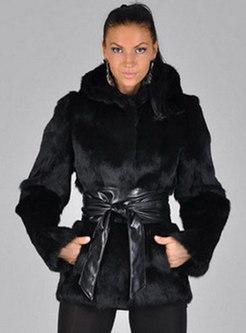 Hooded Slim PU Patchwork Short Faux Fur Coat
