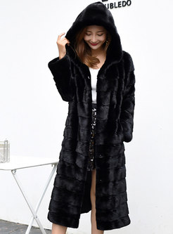 Black Straight Hooded Mid-calf Faux Fur Coat
