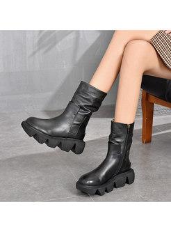 Retro Rounded Toe Platform Short Boots
