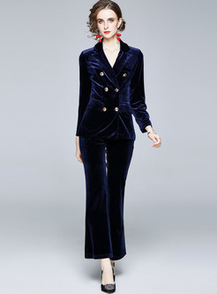 Notched Double-breasted High Waisted Velvet Panda Suits