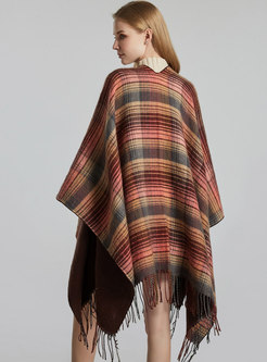 Plaid Color-blocked Fringed Faux Cashmere Shawl