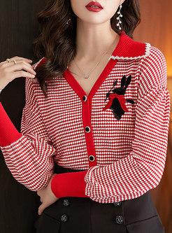 V-neck Plaid Single-breasted Cardigan