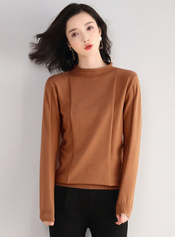 Mock Neck Pullover Loose Solid Sweater