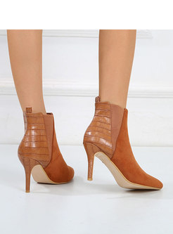 Pointed Toe PU Patchwork Flock Ankle Boots