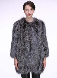 Crew Neck Straight Mid-length Faux Fur Coat