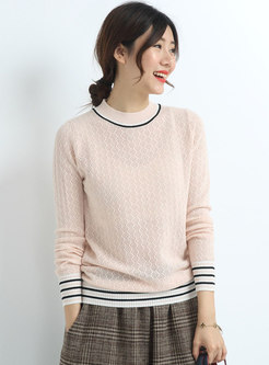 Color-blocked Crew Neck Pullover Sweater