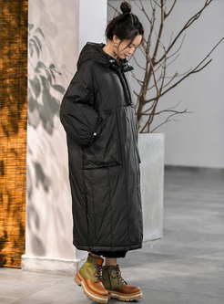 Hooded Straight Pullover Long Down Coat
