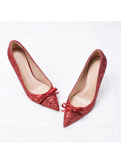 Pointed Toe Bowknot Sequin Party Heels