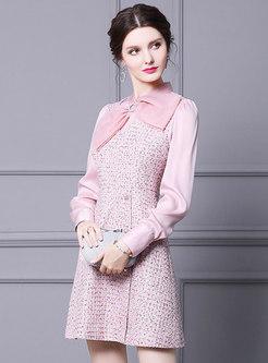 Bowknot Mock Neck Tweed Patchwork Mini Dress