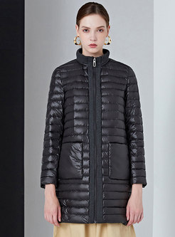 Mock Neck Patchwork Straight Puffer Coat