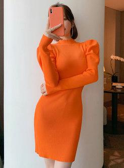 Puff Sleeve Bodycon Mini Sweater Dress