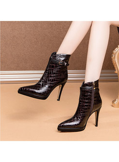 Pointed Toe Cowhide High Heel Ankle Boots