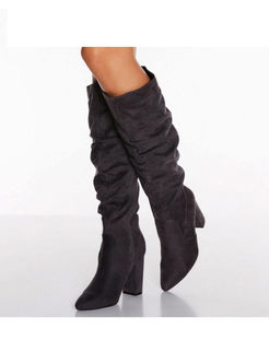 Pointed Toe Chunky Heel Ruched Long Boots