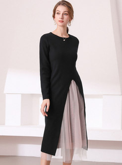 Mesh Color-blocked Patchwork Knitted Dress