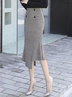 High Waisted Houndstooth Peplum Skirt