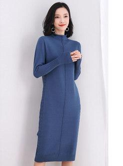 Turtleneck Long Sleeve Midi Knitted Dress